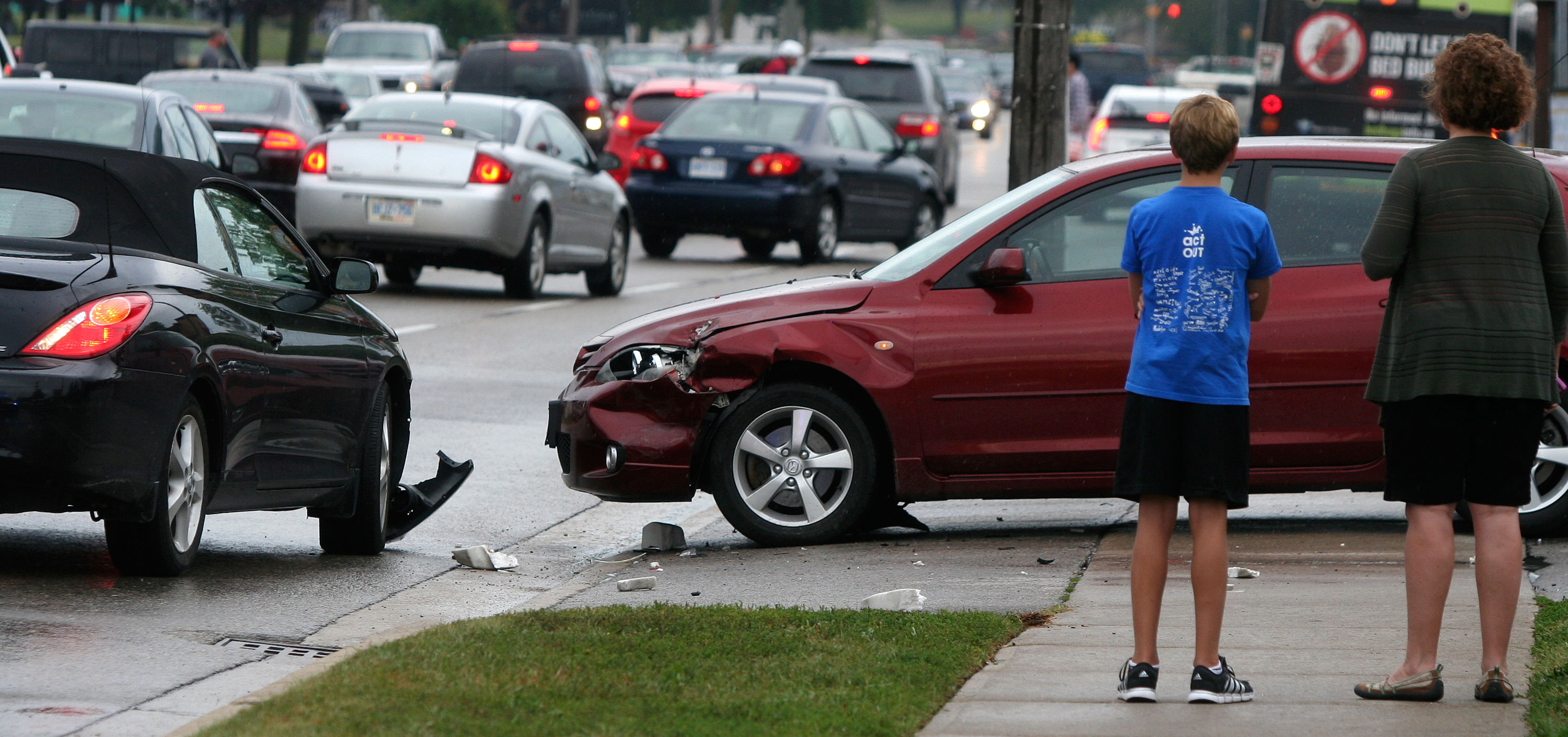 Two cars sustained minor front-end damage in an accident on University Avenue near Weber Street. (Photo by Nick Lachance).