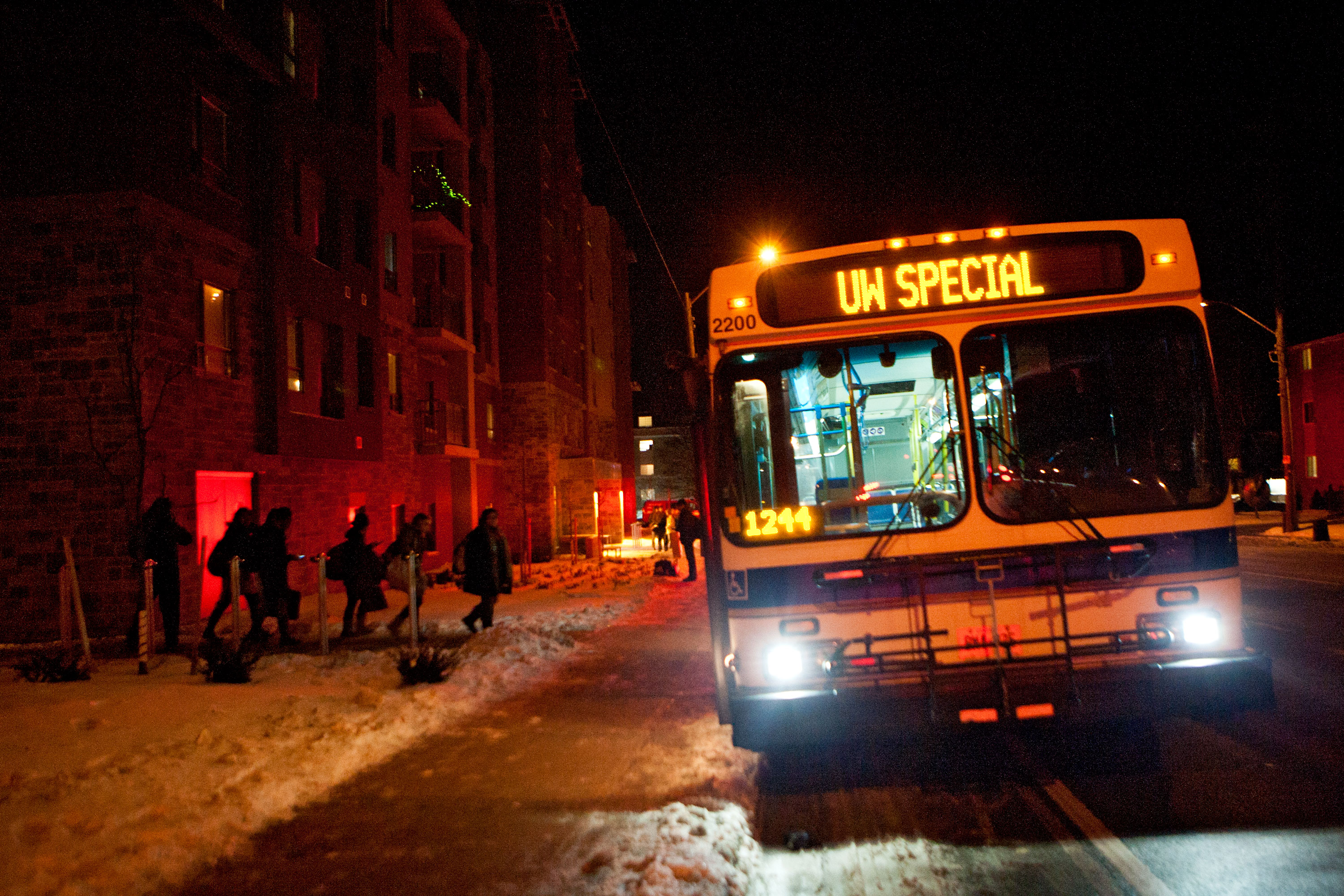 Students evacuate 21 Columbia close to 11pm on February 6, 2013. Unconfirmed initial reports suggested a fire on the forth floor caused water and possible electrical danger as the cause.
