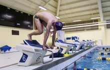alec Elliot prepares to take the plunge into the Wilfrid Laurier University Olymic sized swimming pool before heading to Rio (Paige Bush/ Photo Editor)