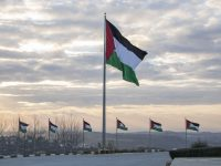 The Palestinian flags of Rawabi — a new city in the West Bank with state-of-the-art architecture and thousands of residents expected to move in over the next few years.