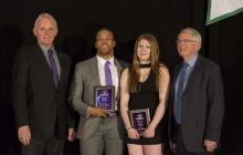 Photo by Emi Zibaei Nakas Onyeka of men's football and Jasmine Raines, first-year swimmer, were the recipients of this year's Present's Award at the 2017 Athletic Banquet.